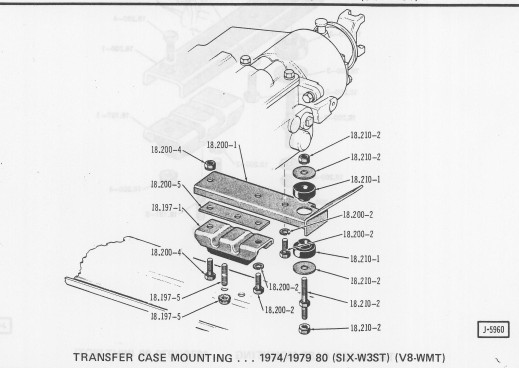 tranny mount assy cj5